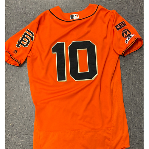 Photo of 2020 Black Friday Sale - 2019 Game Used Orange Home Alt Jersey worn by #10 Evan Longoria on 4/26 vs. NYY, 8/30 vs. SD - 2-5, 2 RBI, R & 9/27 vs. LAD - 2-5 - Size 42
