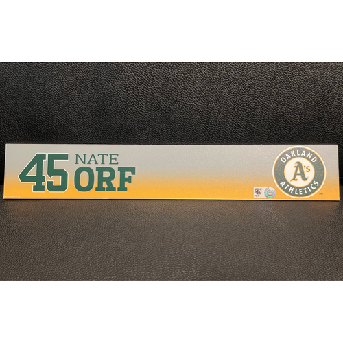 Photo of Nate Orf Game-Used 2020 Spring Training Locker Nameplate