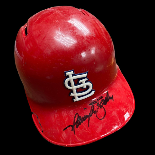 Photo of Harrison Bader Autographed Team Issued Red Batting Helmet (Size 7 1/2)