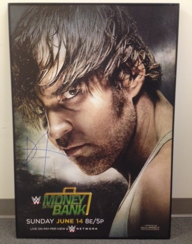 dean ambrose signed framed money in the bank poster wwe auction