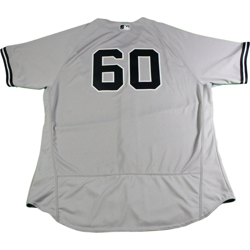 Photo of Mike Harkey New York Yankees 2017 Opening Day Game-Used #60 Road Jersey (4/2/2017). Jersey Size - 52