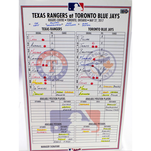 Photo of Game-Used Lineup Card - Texas Rangers Vs. Toronto Blue Jays  - 3/27/17