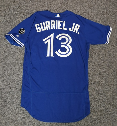 Authenticated Game Used Jersey - #13 Lourdes Gurriel Jr. (Apr 28: 1-for-4 with 1 HR, 1 Run and 1 RBI. 1st MLB HR). Size 44. Rookie Season.