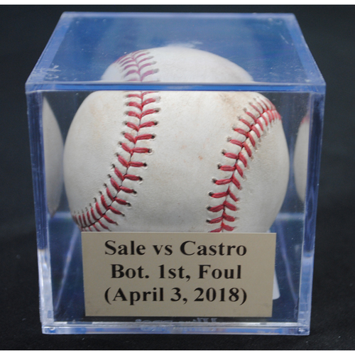 Photo of Game-Used Baseball: Chris Sale (BOS) vs Starlin Castro, Bot. 1st, Foul (April 3, 2018)