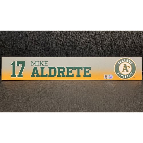 Photo of Mike Aldrete Game-Used 2020 Spring Training Locker Nameplate