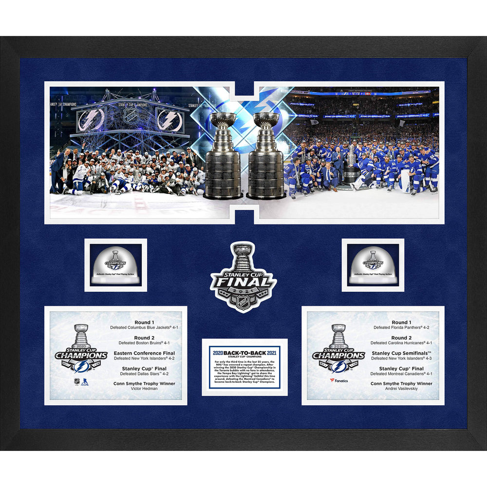 Tampa Bay Lightning 2021 Stanley Cup Champions Framed 20'' x 24'' Back to Back Champions 3-Photograph Collage with Game-Used Ice from the 2020 & 2021 Stanley Cup Final - LE#1 of 813