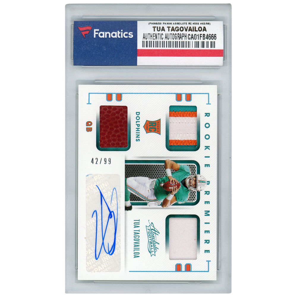 Tua Tagovailoa Miami Dolphins Autographed 2020 Panini Absolute Triple Prime Patch Relic Rookie #42/99 #202 Card