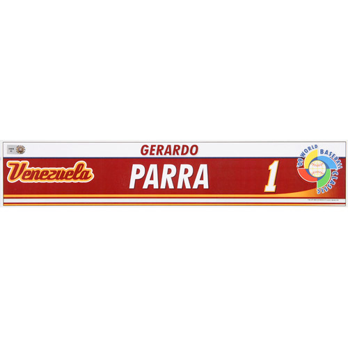 Photo of 2009 WBC: Venezuela Team-Issued Locker Name Plate - #1 Gerrardo Parra