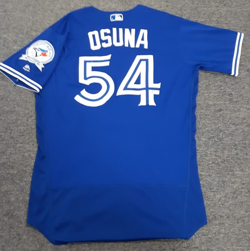 Photo of Authenticated Game Used Jersey - #54 Roberto Osuna (April 9, 2016). Osuna went 1 IP with 0 ER and 1 K. Size 44