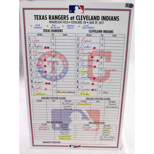 Photo of Game-Used Lineup Card - Texas Rangers Vs. Cleveland Indians - 6/29/17