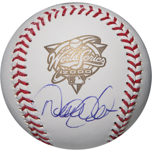Photo of Derek Jeter Autographed 2000 World Series Logo Baseball