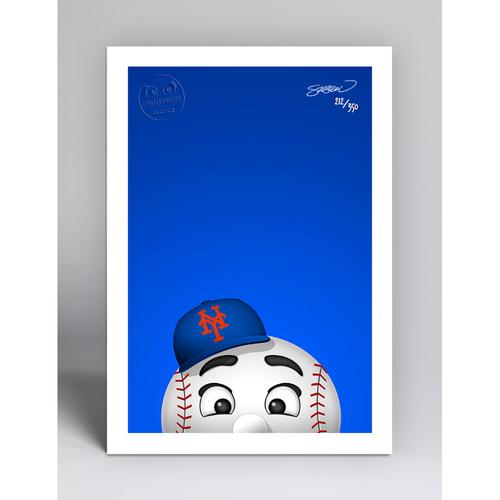 Photo of Mr. Met - Limited Edition Minimalist Mascot Art Print by S. Preston  - New York Mets