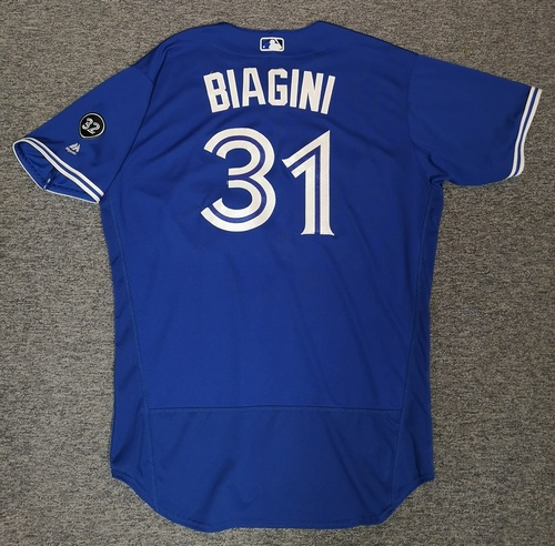 Photo of Authenticated Game Used Jersey - #31 Joe Biagini (Aug 11, 18). Size 50.
