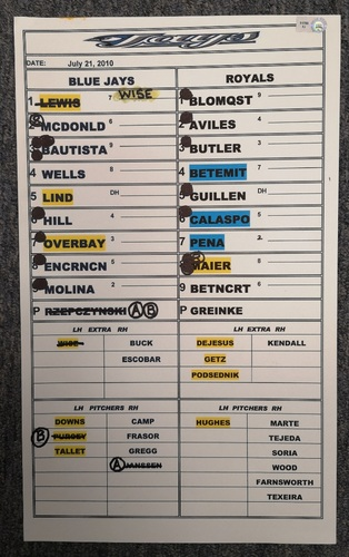Photo of Authenticated Game Used Lineup Card - July 21, 2010 at KC: Zack Greinke went 8 IP with 9 Ks for the Win