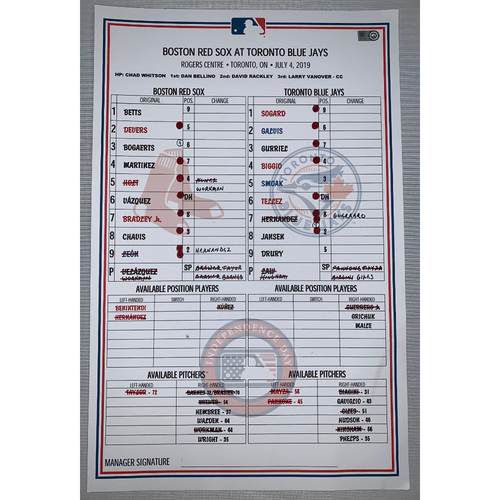 Photo of Boston Red Sox vs Toronto Blue Jays July 4, 2019 Game Used Lineup Card - Red Sox Win 8 to 7