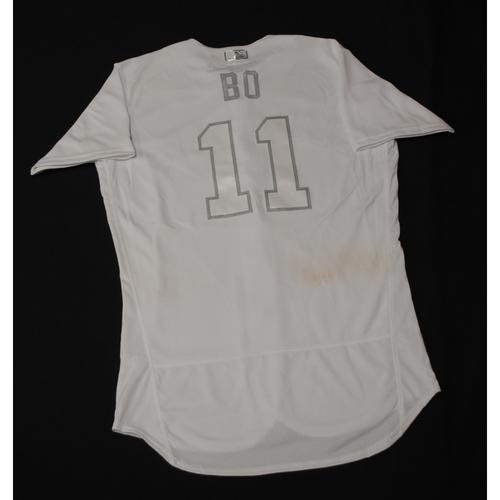 "Photo of Bo ""BO"" Bichette Toronto Blue Jays Game-Used 2019 Players' Weekend Jersey"