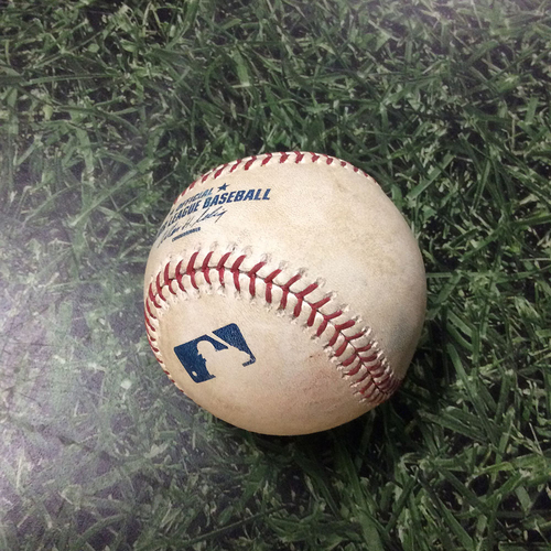 Photo of Game Used Baseball ATL@MIL 04/07/11 - Tommy Hanson - Nyjer Morgan: Double