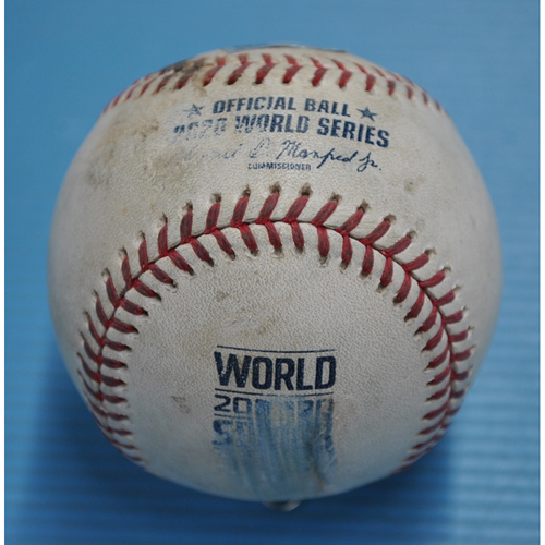 Photo of Game-Used Baseball - 2020 World Series - Tampa Bay Rays vs. Los Angeles Dodgers - Game 6 - Pitcher: Alex Wood, Batters: Austin Meadows (Swinging Strikeout), Brandon Lowe (Groundout to P) - Top 3