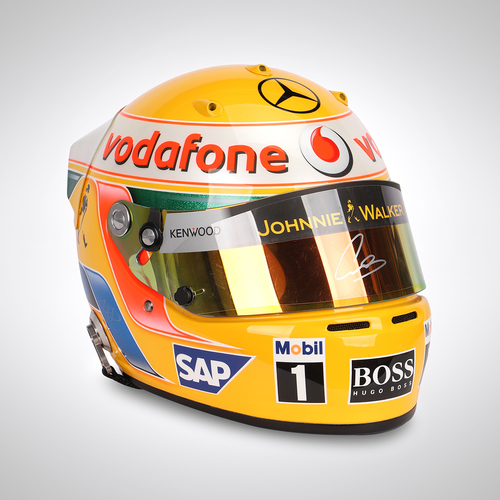 Photo of Lewis Hamilton 2008 Signed Replica Helmet