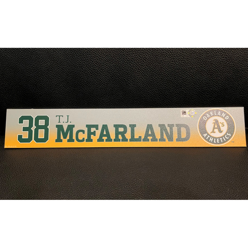 Photo of T.J. McFarland Game-Used 2020 Spring Training Locker Nameplate