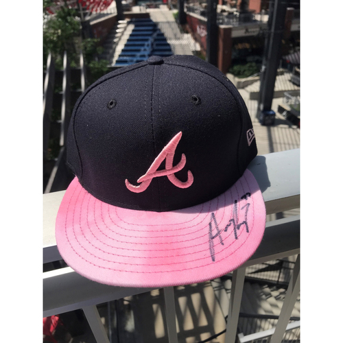 Photo of Austin Riley Autographed MLB New Era Pink Cap