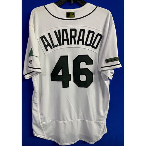 Photo of Game Used Autographed Memorial Day Home Jersey: Jose Alvarado - May 27, 2018 v BAL