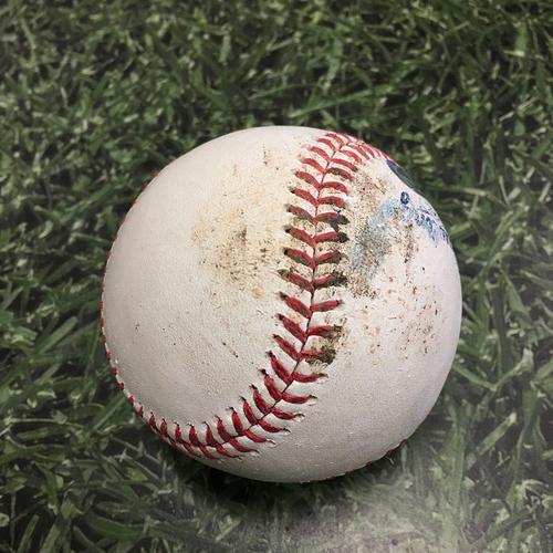 Photo of Game-Used Baseball ATL@MIL 05/14/21 - Adrian Houser - Austin Riley: 2-Run Single
