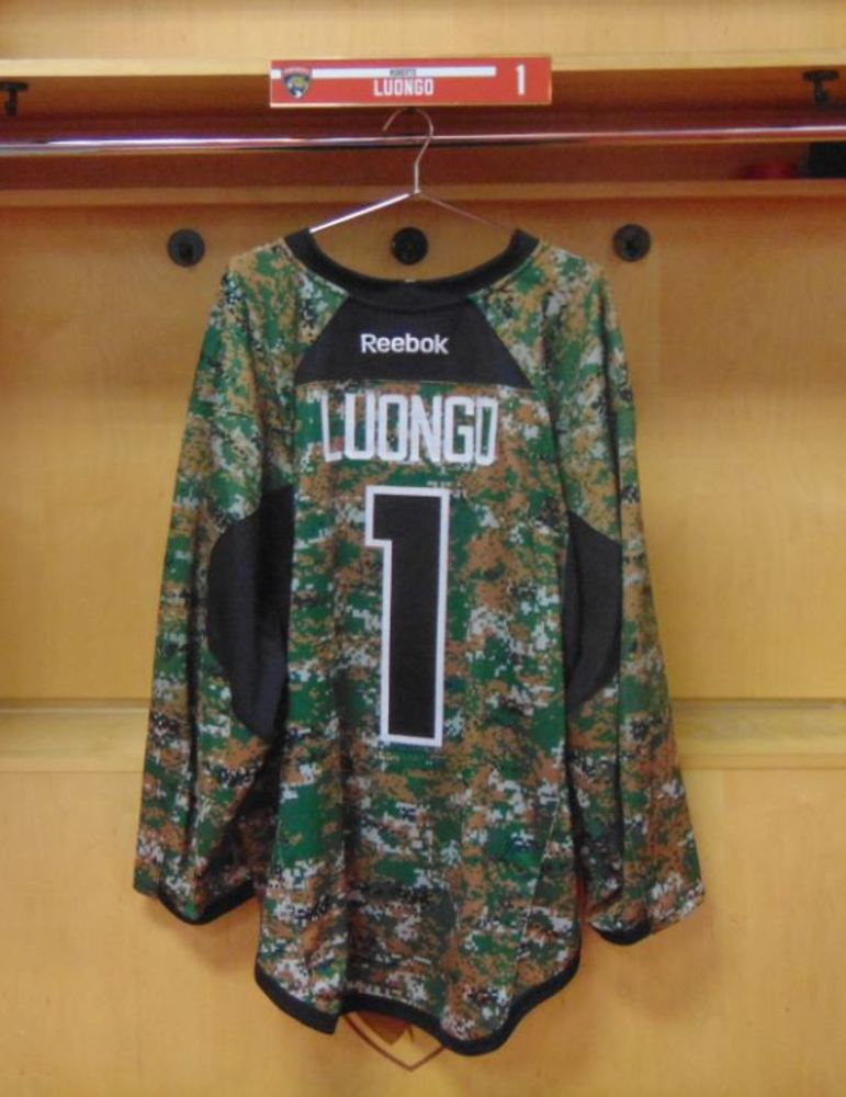 9dfd6b42a84  1 Roberto Luongo Warm-Up Worn and Autographed Military Jersey. Size 58+
