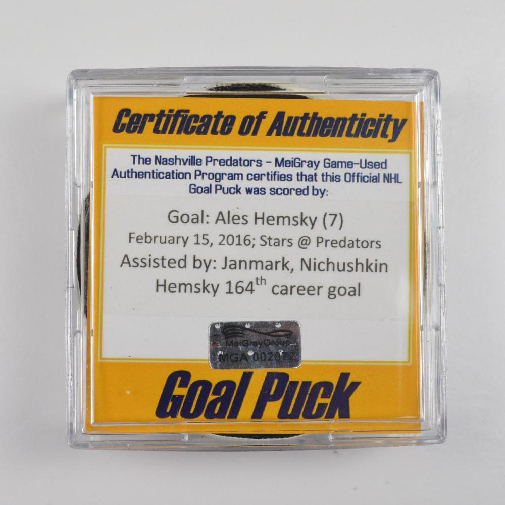 Ales Hemsky - Dallas Stars - Goal Puck - February 15, 2016 (Predators Logo)