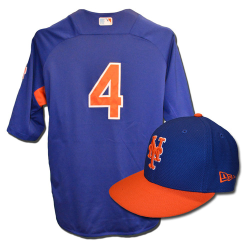 Wilmer Flores #4 - Team Issued Blue Batting Practice Top and Hat Combination - 2017 Season