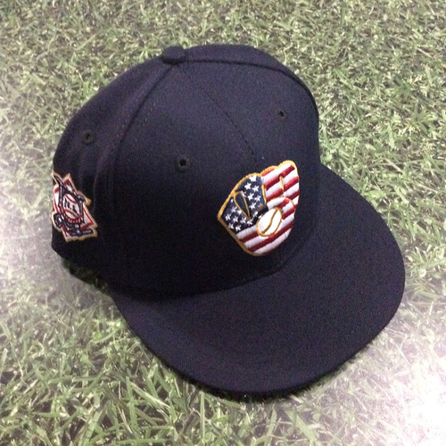 Photo of Freddy Peralta Game-Used 2018 Stars & Stripes Cap