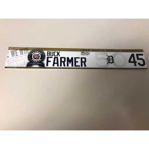 Photo of Game-Used 1968 World Series Champions 50th Anniversary Locker Name Plate: Buck Farmer