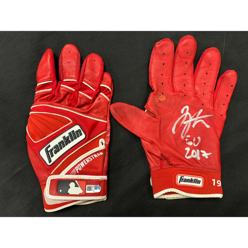 Photo of Joey Votto -- Autographed Batting Gloves -- Inscribed as