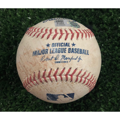 Photo of Ronald Acuna, Jr. Game Used Hit Double Baseball - June 14, 2019