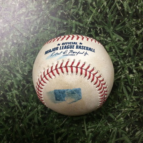 Photo of Game-Used Baseball CHC@MIL 06/12/18 - Chase Anderson - Willson Contreras: Single