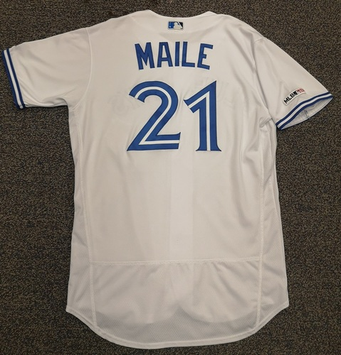 Photo of Authenticated Game Used Jersey - #21 Luke Maile (Mar 28, 19: Opening Day). Size 46.