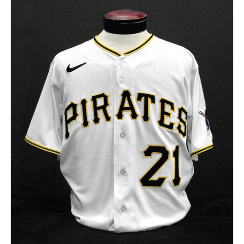Photo of Game-Used Roberto Clemente Day Jersey - Mike Rabelo - PIT vs. CWS - 9/9/2020