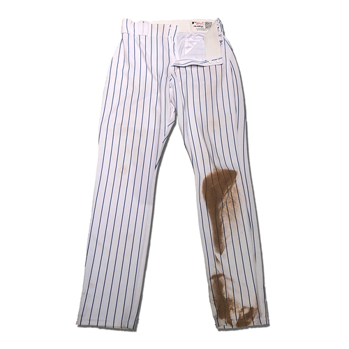 Photo of Amed Rosario #1 - Game Used White Pinstripe Pants - Rosario Goes 1-2, 2 Walks, 2 Runs Scored - Mets vs. Phillies - 7/6/19