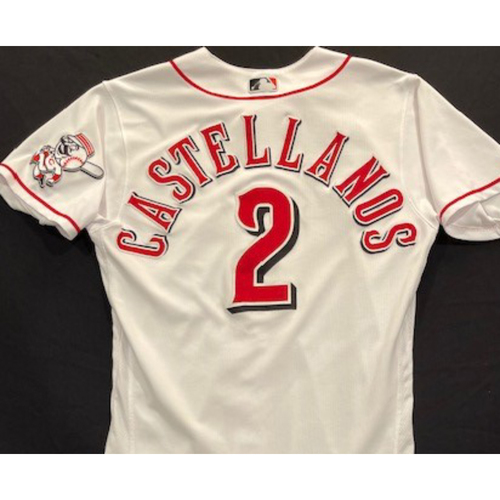 Photo of Nick Castellanos - 2020 Home White Jersey - Game-Used - Size 42 - Worn for Reds Opening Day (7/24/20), First HR as a Red (7/28/20) and First Grand Slam as a Red (7/29/20)