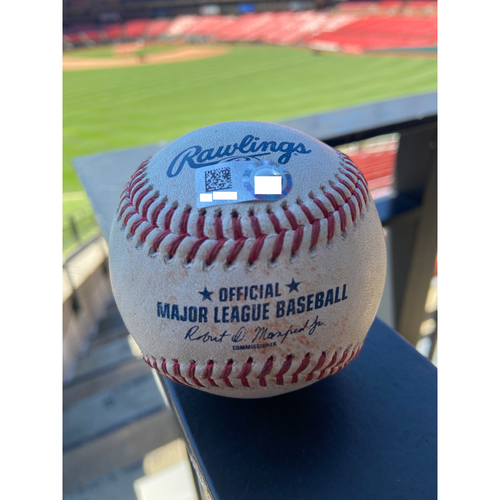 Photo of Cardinals Authentics: Game Used Baseball Pitched by J.A. Happ to Fernando Tatis Jr. *Single RBI*