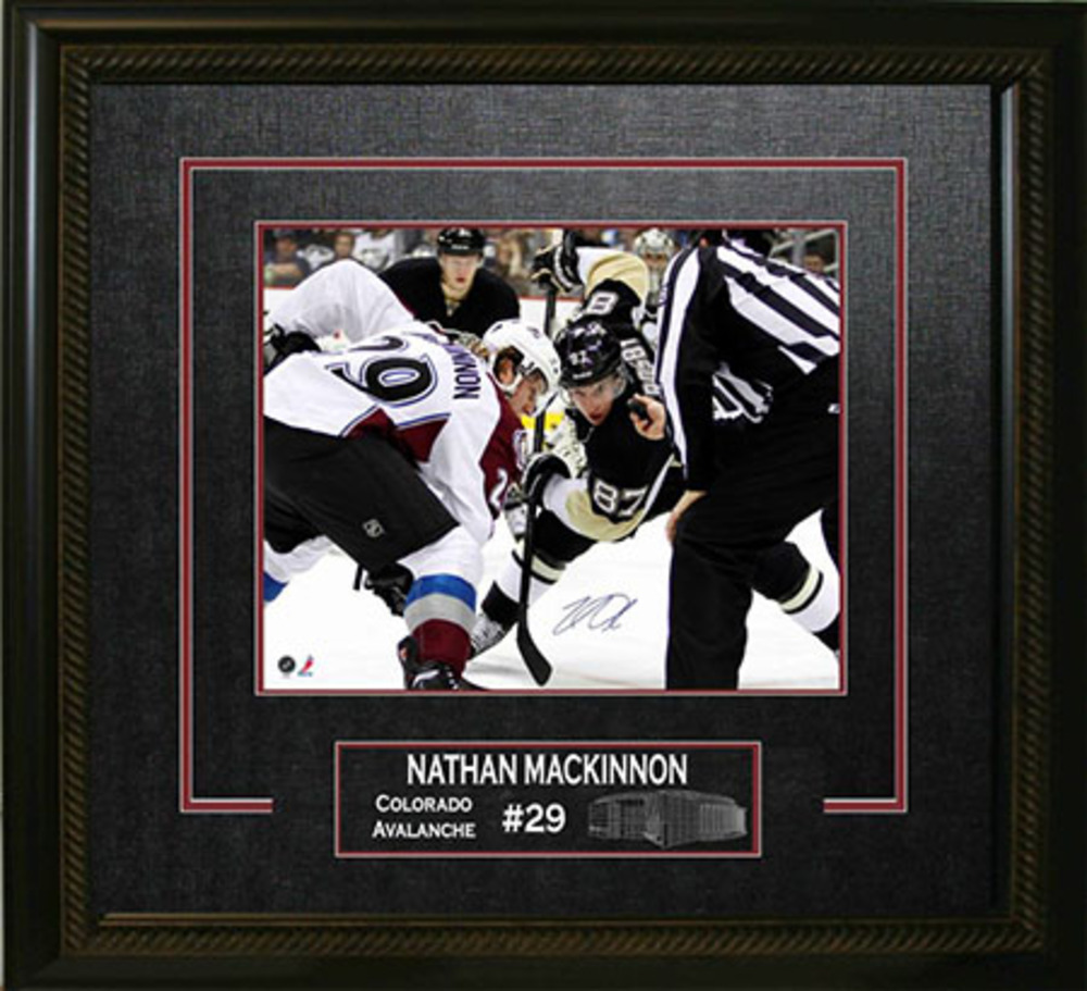 Nathan Mackinnon Signed 16x20 Avalanche Etched Mat vs Crosby