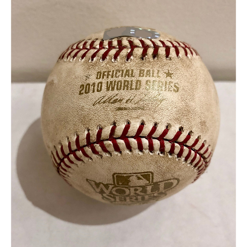 Photo of Game-Used Baseball: 2010 World Series Game 3 - San Francisco Giants at Texas Rangers - Batter: Vladimir Guerrero, Pitcher: Jonathan Sanchez - Bottom of 5, Pitch in the Dirt