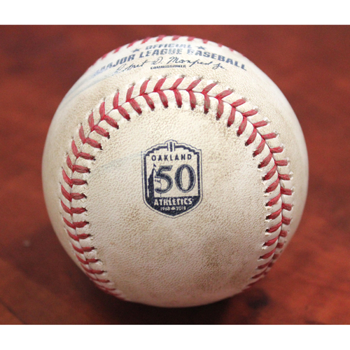 Photo of Game-Used Baseball: 6/8/18 vs KC - Dustin Fowler 1B & Jed Lowrie Foul off Jake Junis