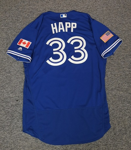 Photo of Authenticated Team Issued Independence Day Jersey - #33 J.A. Happ (2018 Season). Size 46.