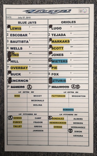 Photo of Authenticated Game Used Lineup Card - July 27, 2010 vs BAL: Jose Bautista hits 2 HRs to get to 30 on the season