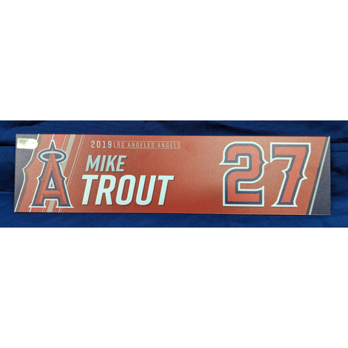 Photo of Mike Trout Game-Used 2019 Locker Tag