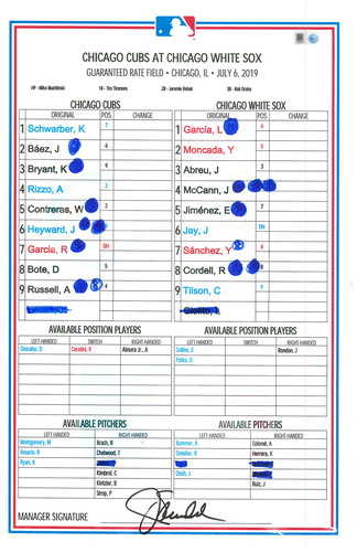Photo of Game-Used Lineup Card -- Lester 8th Win (6.1 IP, 1 ER, 3 K) Kimbrel 2nd Save -- Cubs at White Sox -- 7/6/19