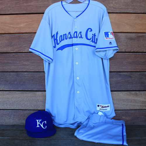 Photo of Game-Used 1969 Throwback Jersey, Pants and Cap: Pedro Grifol (Jersey Size 48 - KC @ WSH  - 7/6/19)