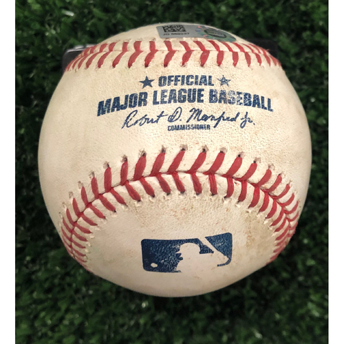 Photo of Ozzie Albies Game Used Hit Single Baseball - June 14, 2019
