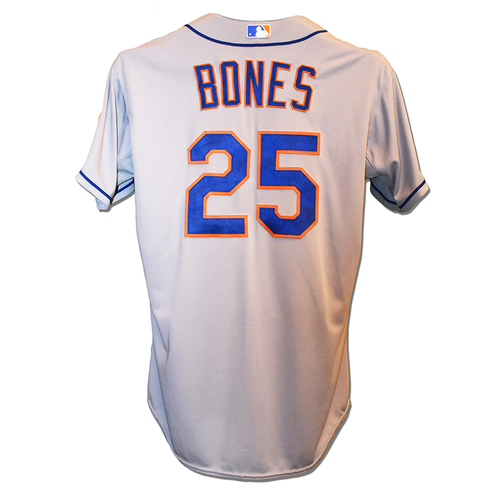 Photo of Ricky Bones #25 - Game Used Road Grey Jersey - Mets vs. Cubs - 10/21/2015